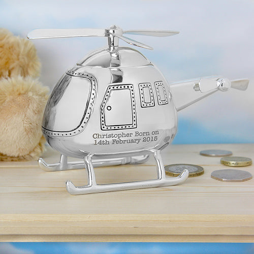 Personalised Silver Plated Helicopter Money Box
