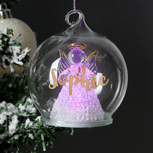 Load image into Gallery viewer, Personalised Christmas LED Angel Bauble