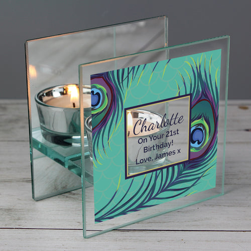 Personalised Peacock Mirrored Glass Tea Light Candle Holder