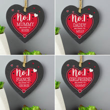 Load image into Gallery viewer, Personalised No.1 Belongs To Printed Slate Heart Decoration