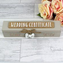 Load image into Gallery viewer, Personalised Wooden Wedding Certificate Holder