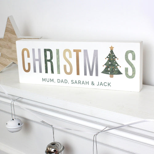 Personalised Christmas Wooden Block Sign