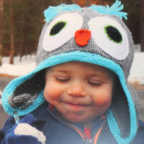 Yarnimal Kit makes a child's Owl Hat Green Body