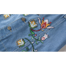 Floral Embroidered Denim Skirt