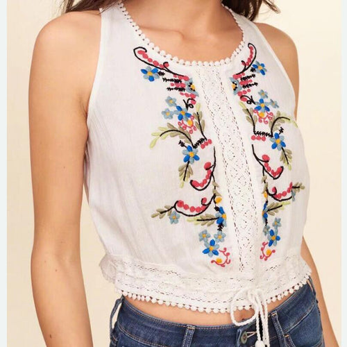Floral Embroidery Crochet & Lace Blouse