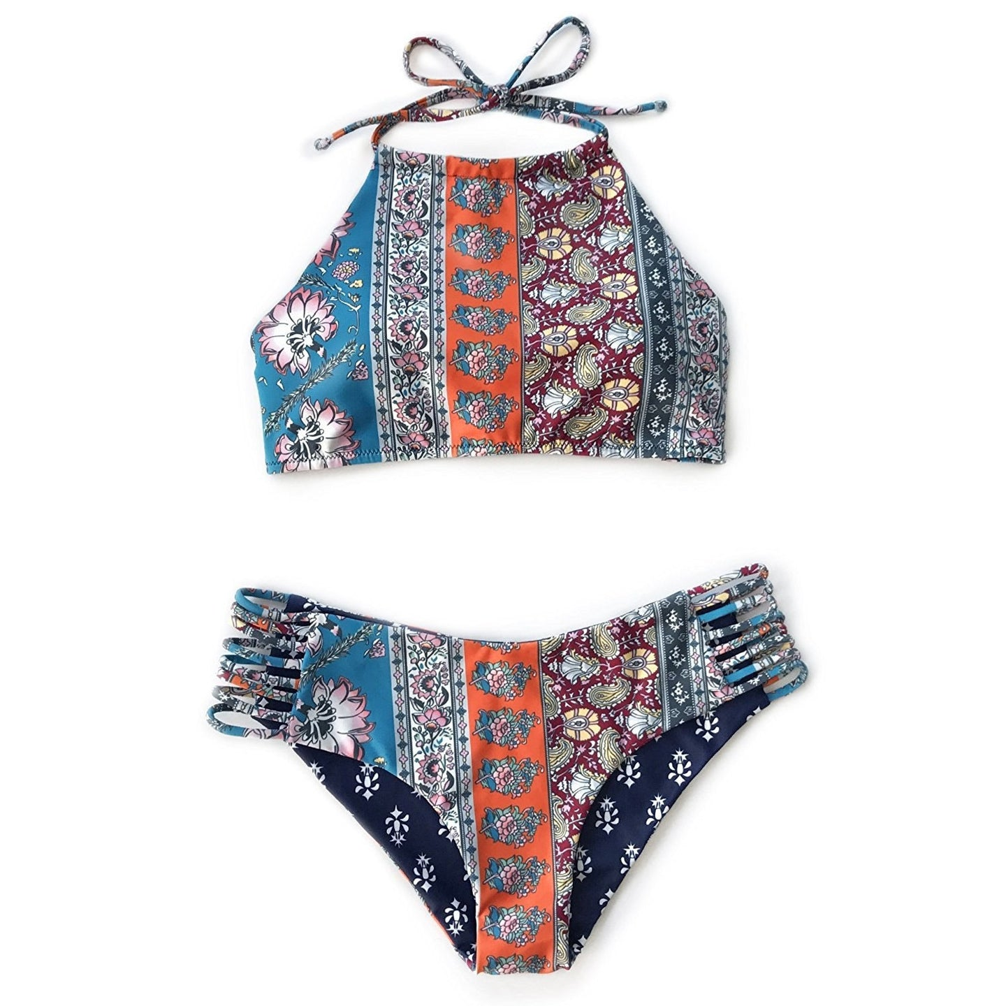 Patchwork Print Reversible Bikini Set (Halter Top model)
