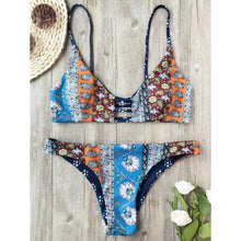 Patchwork Print Reversible Bikini Set (Ladder cut back model)