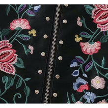 Floral Embroidery Leather Skirt