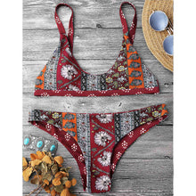 Patchwork Print Reversible Bikini Set (Red)