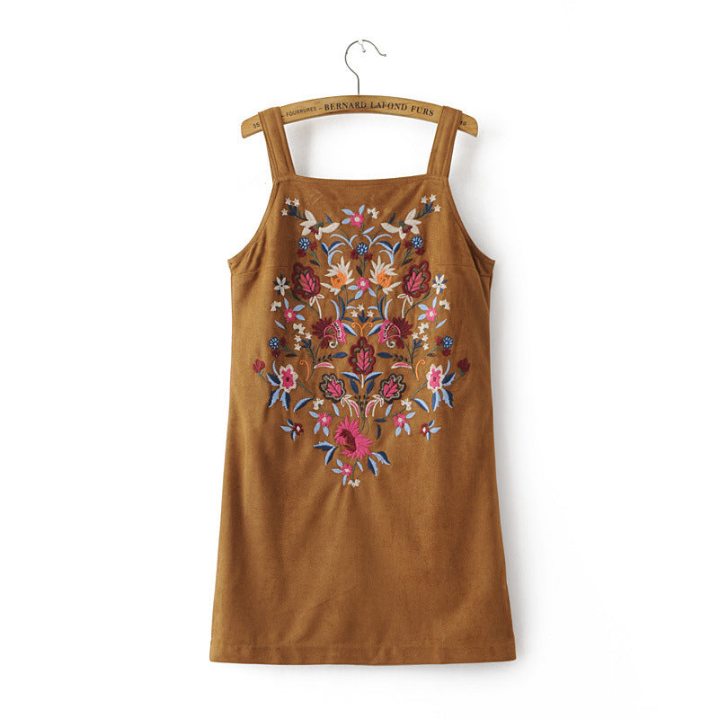 Suede Embroidered Dress