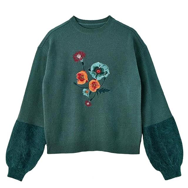 Bouquet Embroidered Sweater