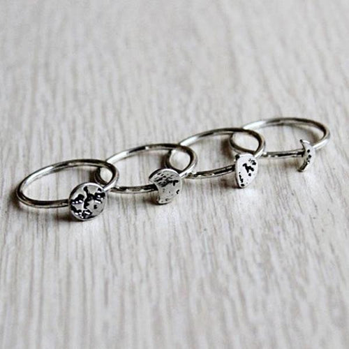 Moon Phases Ring Set