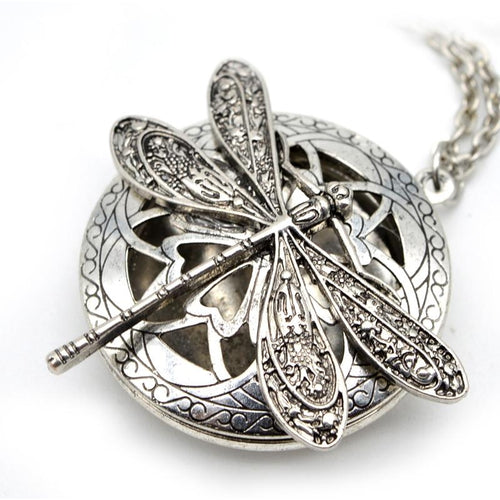 Dragonfly Silvertone Aromatherapy Necklace