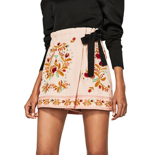 Floral Embroidery Skirt/shorts