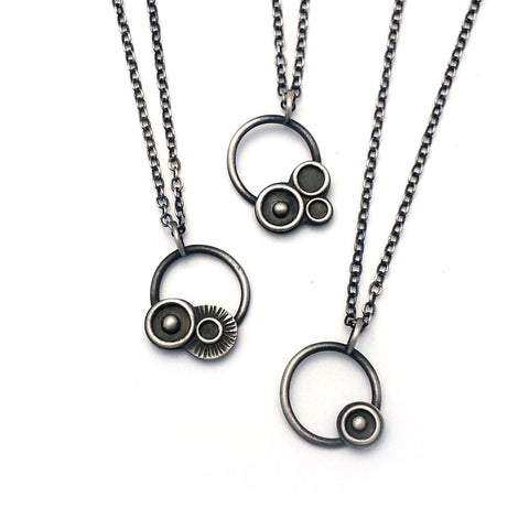Orbital Pendants, Oxidized sterling silver pendant necklaces inspired by space