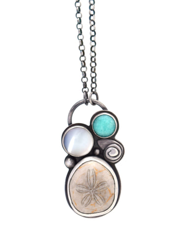 Sterling silver, sea urchin fossil, amazonite, mother of pearl seaside pendant necklace by Erin Austin