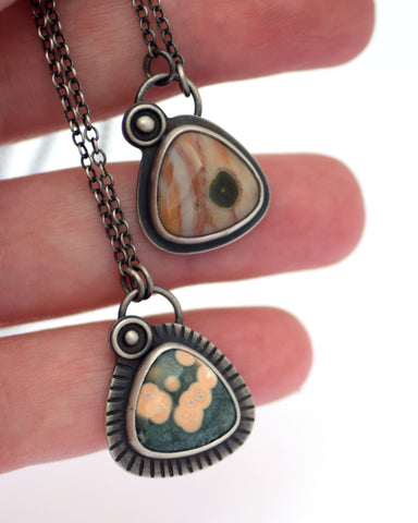 sterllng silver and Ocean Jasper pendant necklaces by Erin Austin