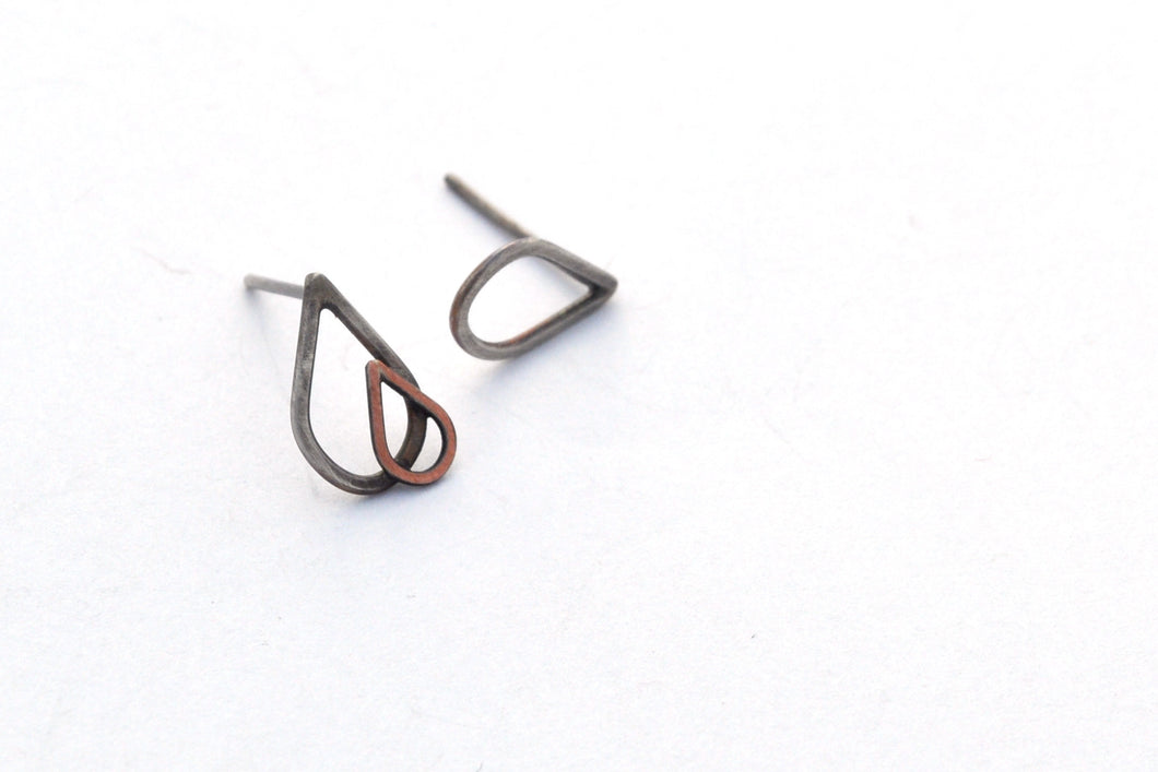 Oxidized Silver Raindrop Stud Earrings