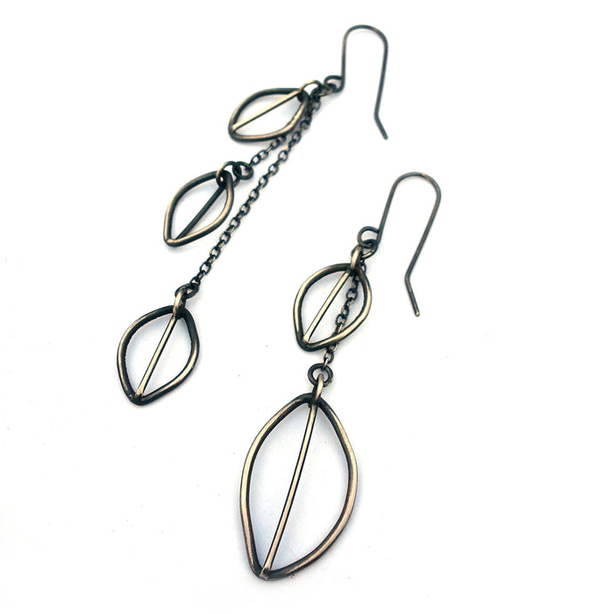 Asymmetric Sterling Silver Chain Earrings with Hand Fabricated Leaves