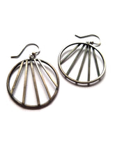 Fan Hoop Earrings, Sterling Silver