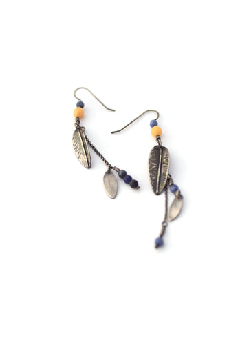 Apatite and Yellow Quartz Leaf Earrings