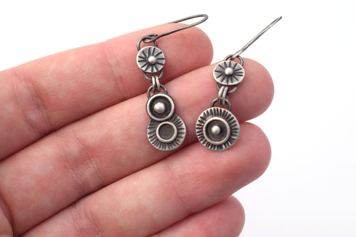 Long Asymmetric Orbital Dangle Earrings