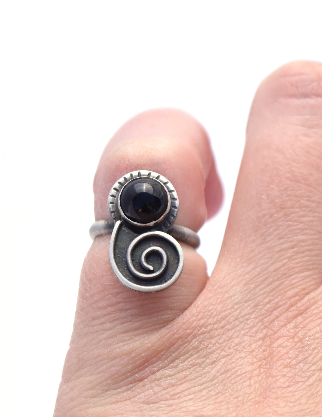 Black Onyx Nautilus Ring, Size 5.5
