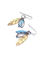 Blue and Brass Leaf Cluster Earrings
