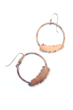 Copper Feather Hoop Earrings