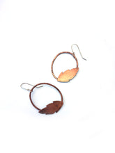 Copper Leaves Hoop Earrings