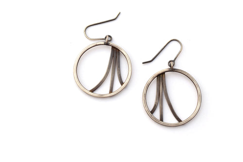 Diverge Earrings, Sterling Silver Hoops