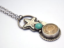 Seaside Pendant, Fossilized Coral and Amazonite