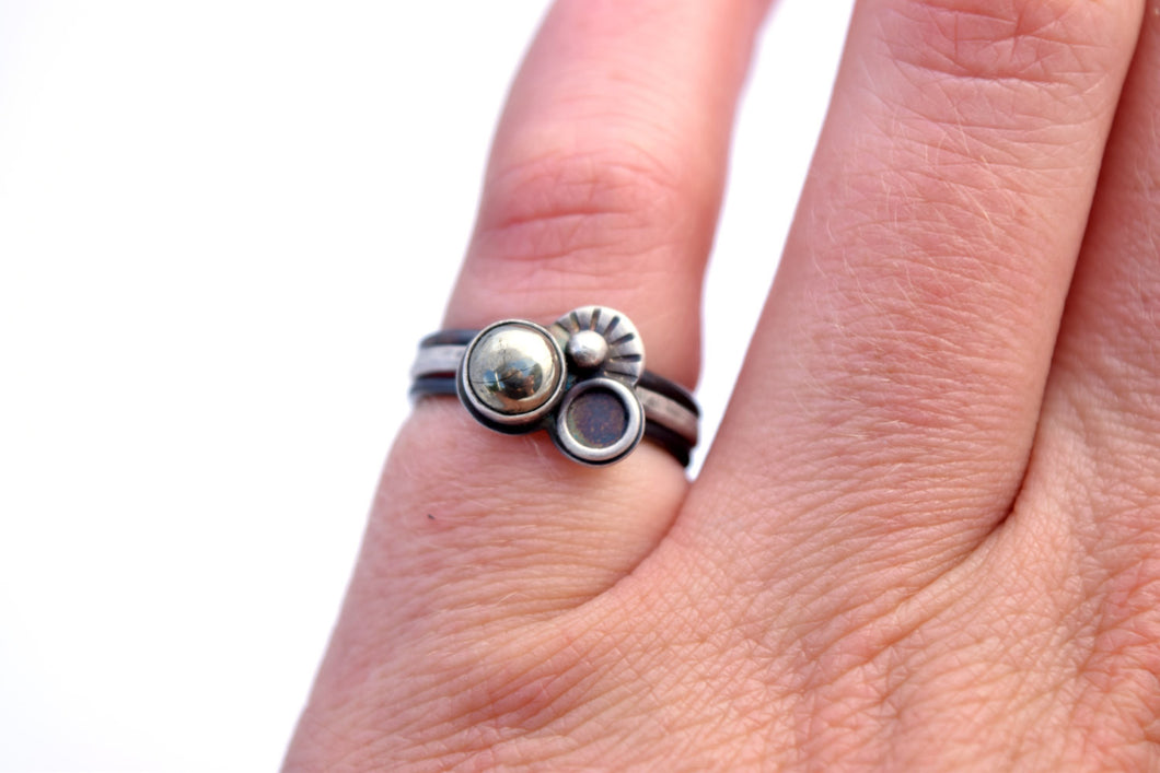 Orbital Stacking Ring Set, Pyrite, Size 7