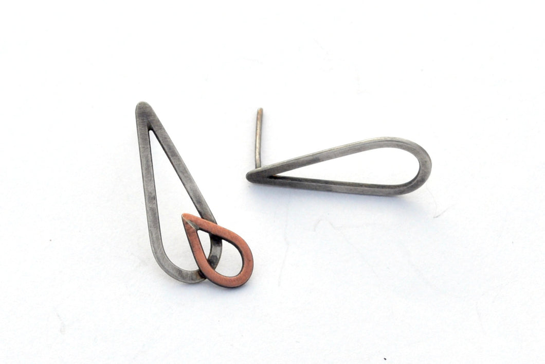 Asymmetric Raindrop Earrings, Sterling Silver and Copper Studs