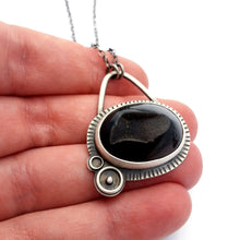 Black Agate Druzy Orbital Necklace