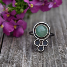 Aventurine Eyelet Lace Statement Ring Size 8.5