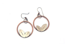 Mixed Metal Leaf Hoops