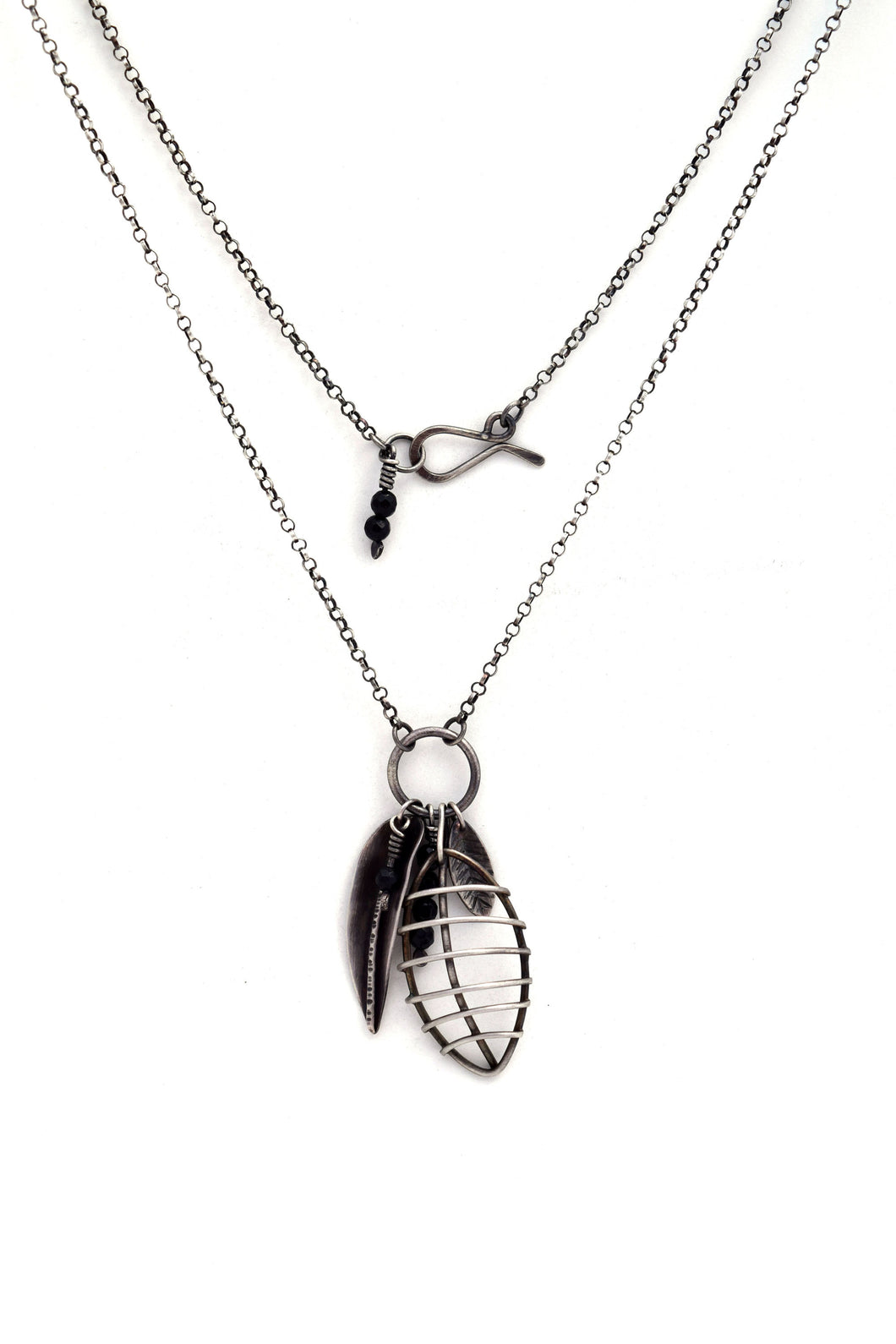 Long Sterling Silver Necklace, Rustic Botanical Pendant with Handcrafted Leaves and Onyx Beads