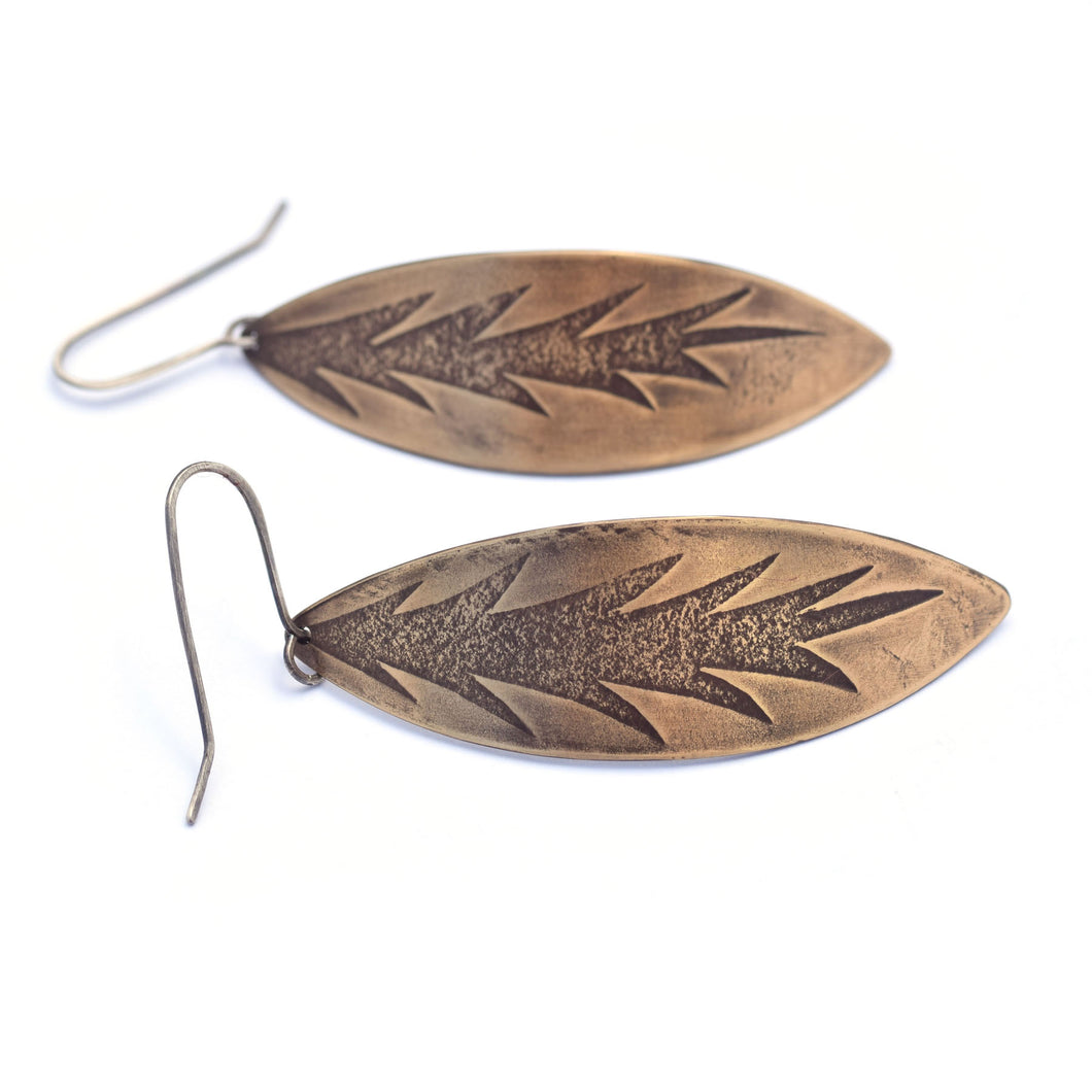 Brass Leaf Earrings