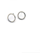 Striped Circle Studs in Sterling Silver