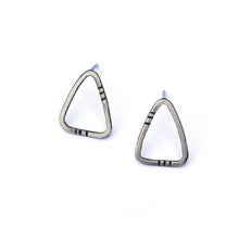 Striped Triangle Studs in Sterling Silver