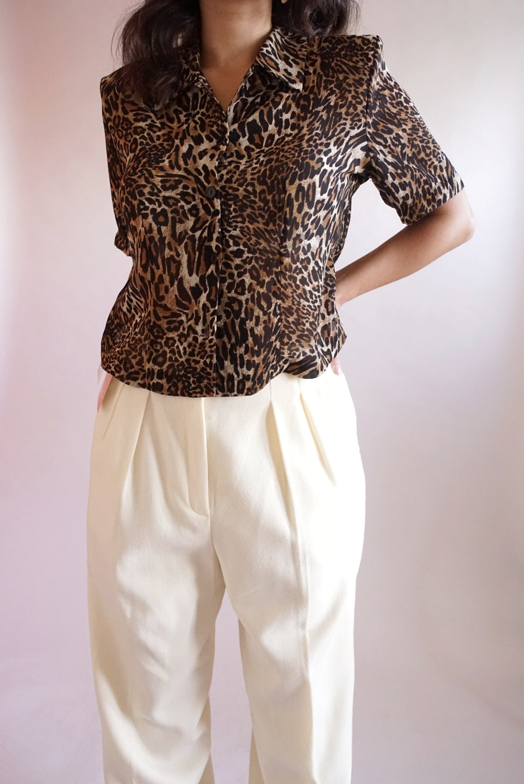 Leopard Open Back Shirt