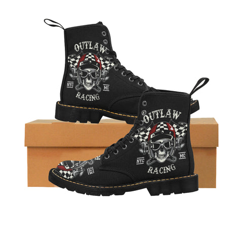 Le Racing Skull of Biker Martin Boots for Kids