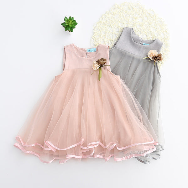 Pink Mesh Party Dress with Applique Decorative Flowers for Little Girls from 3 to 7 years
