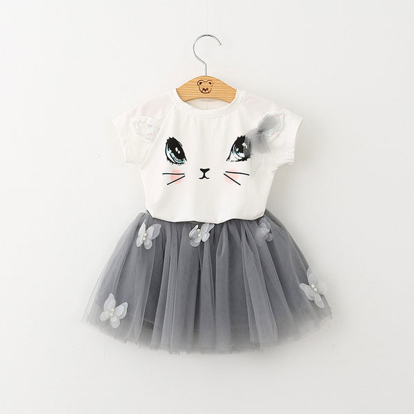 Cute Kitten Cartoon Top+Mesh Tutu with Stuck-on Butterflies 2pcs Set for Little Girls up to 6 years in 7 Colors