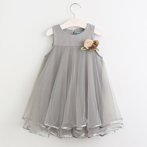 Gray Mesh Applique Party Dress with Decorative Flowers for Little Girls from 3 to 7 years