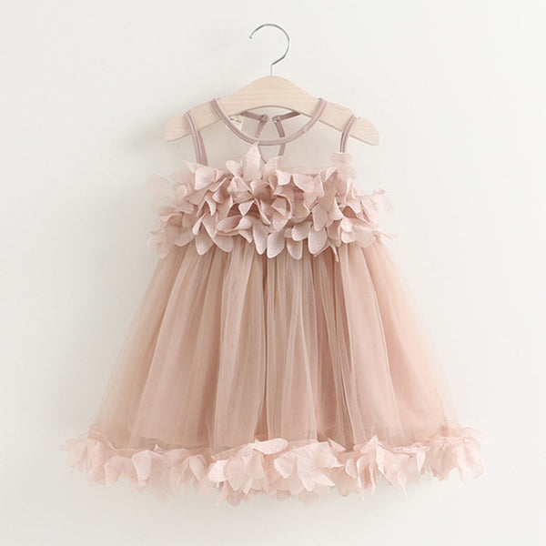 Beige Pink Mesh Applique Princess Dress for Little Girls
