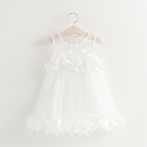 White Mesh Applique Princess Dress for Little Girls