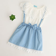 White Sleeveless Dress with Lace Frill and Attached Denim Style Skirt