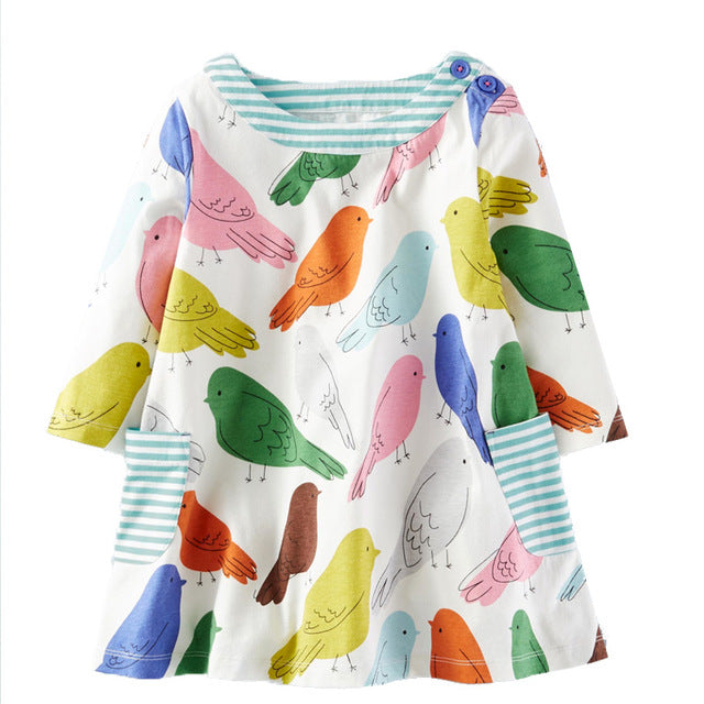 Colorful Birds Print Dress for Little Girls